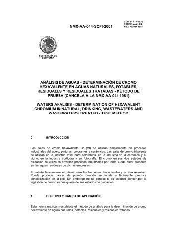 NMX-AA-044-SCFI-2001 ANÁLISIS DE AGUAS ... - CONAGUA