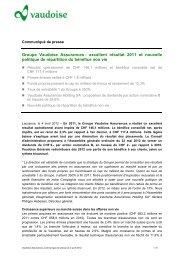 Groupe Vaudoise Assurances : excellent résultat 2011 et nouvelle ...