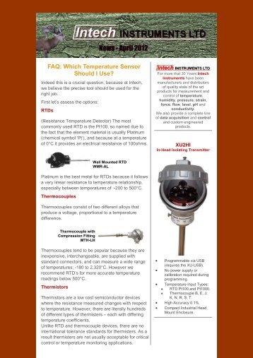 Intech Newsletter May 2012 - Intech Instruments Ltd