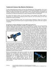 Testbericht Antares Sky Watcher Refraktoren - Foto Video Zumstein ...