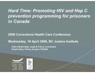 Hard Time: Promoting HIV and Hep C prevention programming for ...