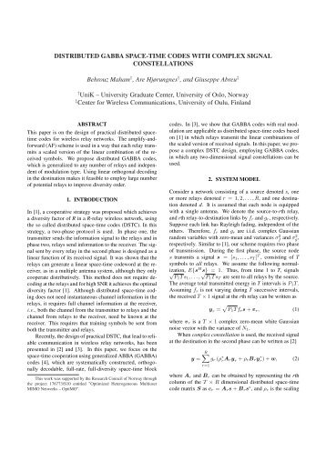 Distributed GABBA Space-Time Codes with Complex ... - Unik