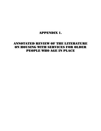 APPENDIX 1: Annotated Review of the Literature on Housing - ASPE