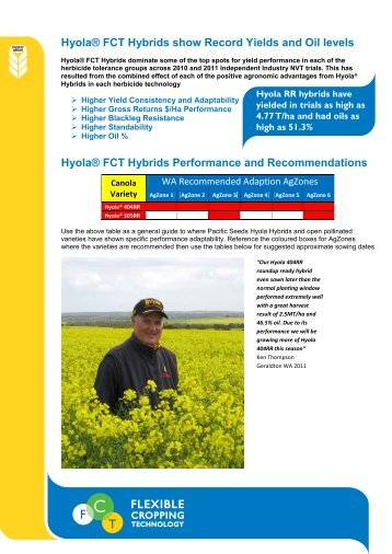 Hyola® FCT Hybrids show Record Yields and Oil ... - Directrouter.com