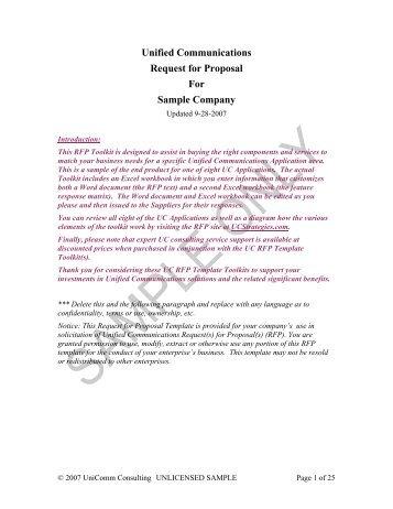 uc rfp template sample ucstrategies com