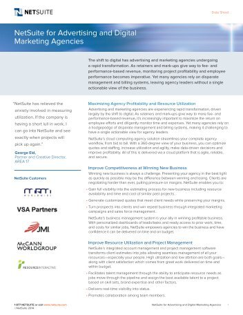 NetSuite for Advertising and Digital Marketing Agencies