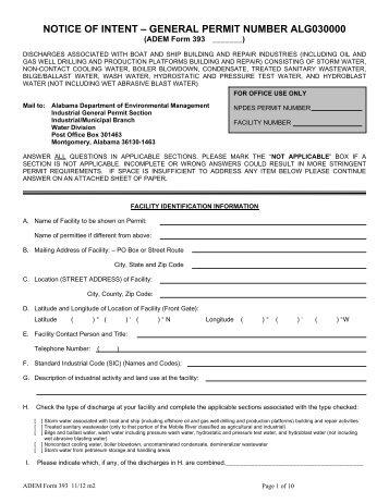 General Permit Application Package - NOI-3 - Alabama Department ...