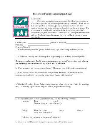 Preschool Family Information Sheet - Children's Center Home