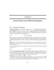 Second Order Linear Differential Equations 12.1. Homogeneous ...