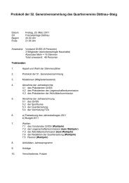 Protokoll der 52. Generalversammlung des Quartiervereins Dättnau ...