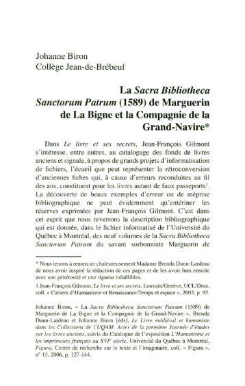 La Sacra Bibliotheca Sanctorum Patrum (1589) - imaginaire - UQAM