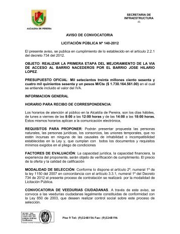 AVISO DE CONVOCATORIA LICITACIÓN PÚBLICA Nº 140-2012 El ...