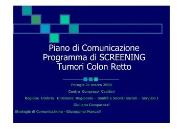 Piano di comunicazione programma di screening tumori colon retto