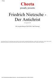 Cheeta Friedrich Nietzsche - Der Antichrist