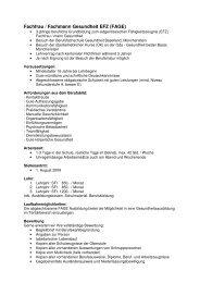 Fachfrau / Fachmann Gesundheit EFZ (FAGE)