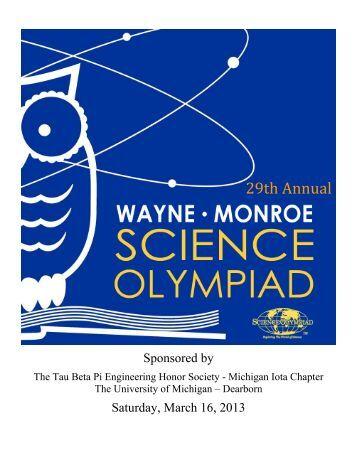 Tournament Program - Wayne-Monroe Science Olympiad