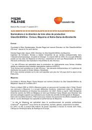 Nominations à la direction de trois sites de ... - GlaxoSmithKline