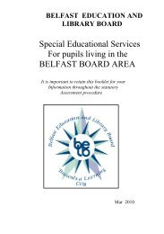Special Educational Services For pupils living in the BELFAST ...