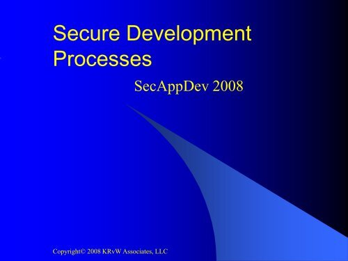Secure SDLCs compared - Secure Application Development