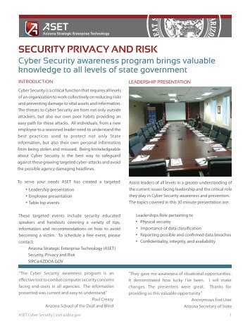 Cyber Security Awareness Event Information - Arizona Strategic ...