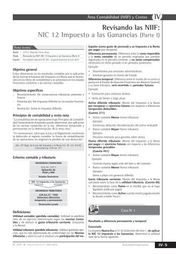 NIC 12 Impuesto a las Ganancias - Revista Actualidad Empresarial