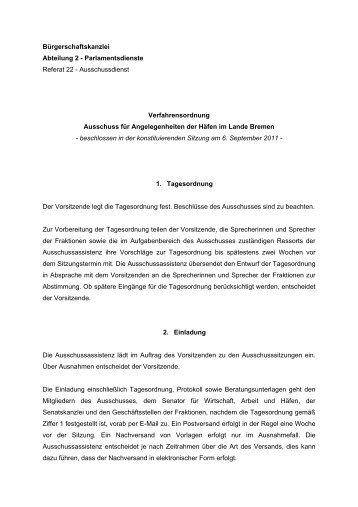 Verfahrensordnung - Hafenausschuss