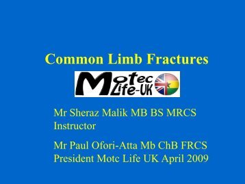 Fracture Description - Common Fractures - MOTEC LIFE-UK