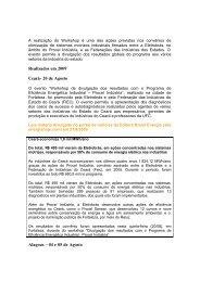 Realizados em 2009 Ceará- 20 de Agosto Alagoas – 04 e 05 de ...