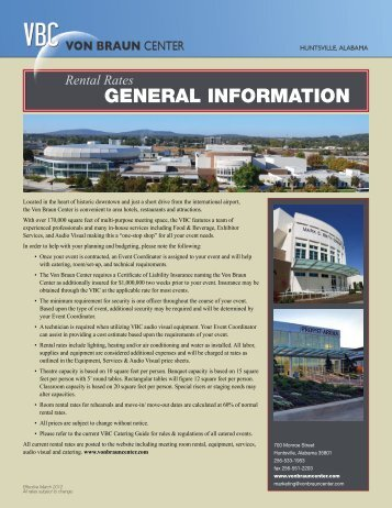 GENERAL INFORMATION - Von Braun Center