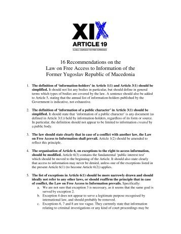 16 Recommendations on the Law on Free Access to ... - Article 19