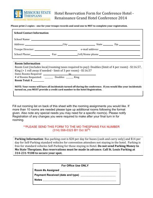 free form 14 missouri  Hotel Reservations Form - Missouri State Thespians