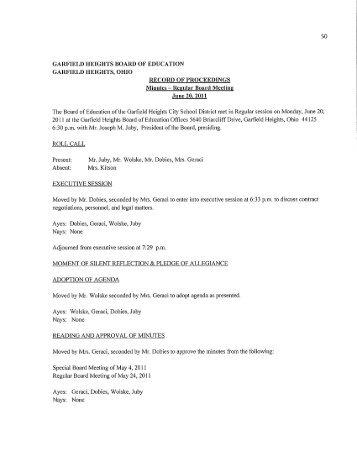 Schedule of Investments - Garfield Heights City Schools