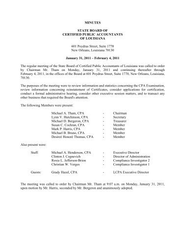 Minutes - State Board of Certified Public Accountants of Louisiana
