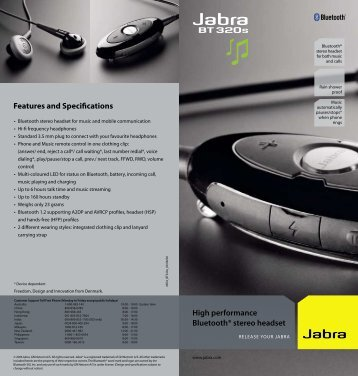 Features and Specifications High performance Bluetooth ... - Jabra