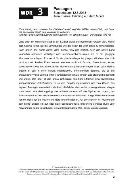 Frühling auf dem Mond (PDF-Download: 92,0 KB) - WDR 3
