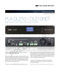 PLA DL210 DSP Loop Amplifier Specifications - Williams Sound