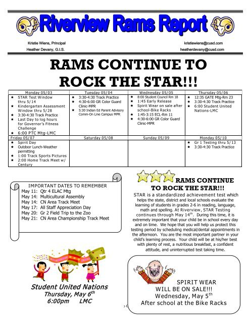 rams continue to rock the star!!! - Riverview Elementary School