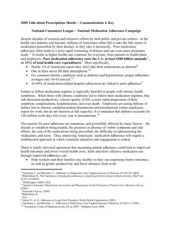NCL Adherence-TAP '09 - National Council on Patient Information ...