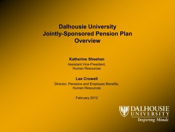 Jointly-Sponsored Pension Plan - Blogs - Dalhousie University
