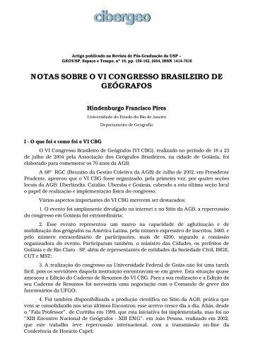 notas sobre o vi congresso brasileiro de geógrafos - Cibergeo