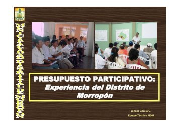Experiencia del Distrito de Morropón - Riesgo y Cambio Climático