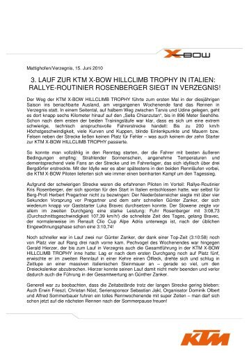 3. LAUF ZUR KTM X-BOW HILLCLIMB TROPHY IN ITALIEN ...