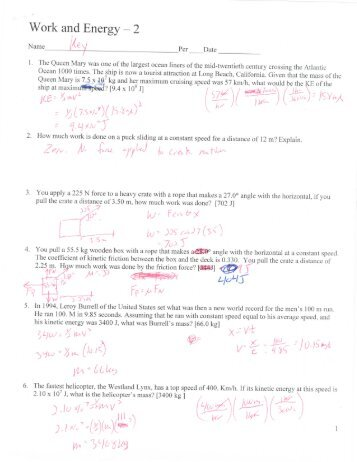Work and Energy Worksheets