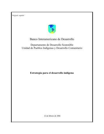 Estrategia para el desarrollo indígena - Pueblos Indígenas