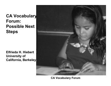 CA Vocabulary Forum: Possible Next Steps - TextProject