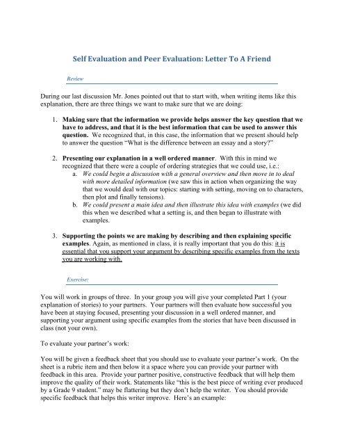 peer evaluation essay