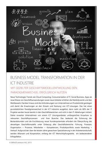 Business Model Transformation - SIRIUS advisors