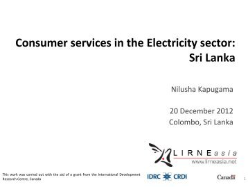 Consumer services in the Electricity sector: Sri Lanka - LIRNEasia
