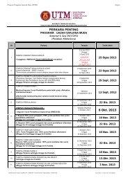 Perkara Penting Semester I, Sesi 2013/2014 - UTM SPACE