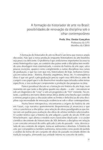 A formação do historiador de arte no Brasil - CBHA